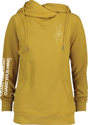 PEACE- Women's Funnel Neck Sweatshirt Heather Mustard