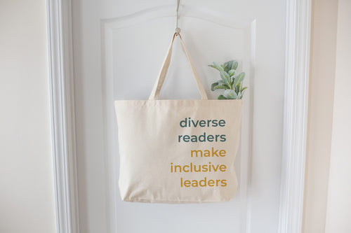 Diverse Readers Make Inclusive Leaders- Extra Large Natural Tote