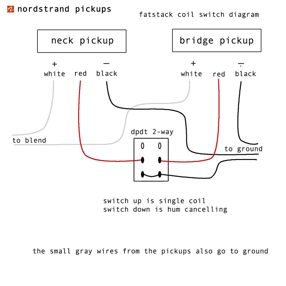 Pickup Wiring Diagrams And Schematics Nordstrand Audio 2 Switched Stacked Pickups Switching For Single Coile Mode