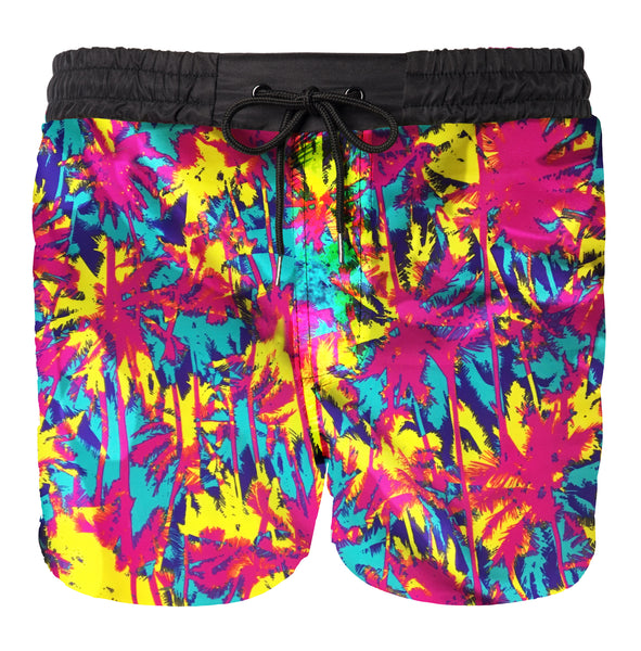 80s 90s neon short mens swim trunks