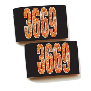 Armbands-Single Pair-Faux Orange Glitter Numbers!