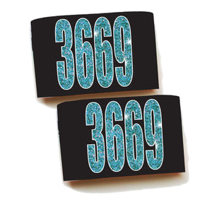 Armbands-Single Pair-Faux Teal Glitter Numbers!
