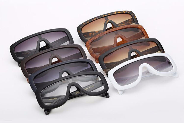 Thick Framed Flat Top Shield Sunglasses