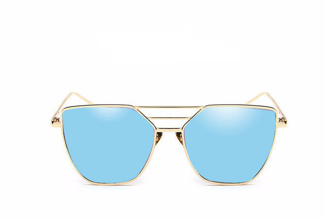 Oversized Flat Top Mirrored Lenses Sunglasses