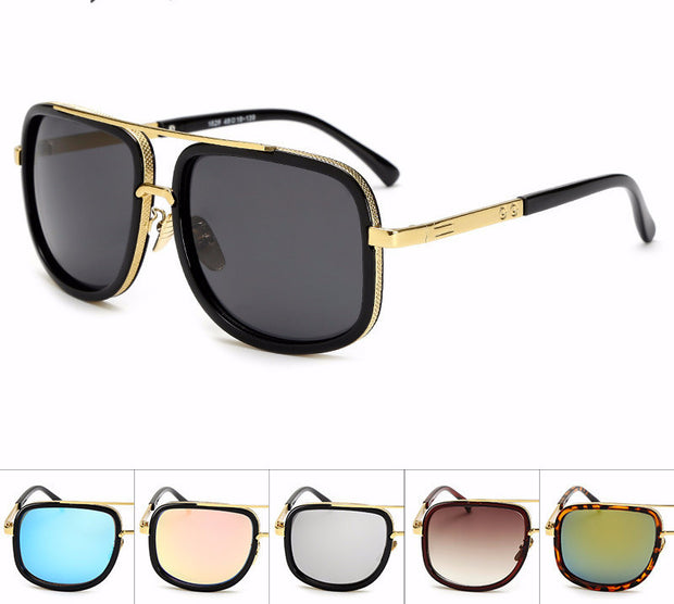 Black Rimmed Oversized Aviator Style Framed Sunglasses