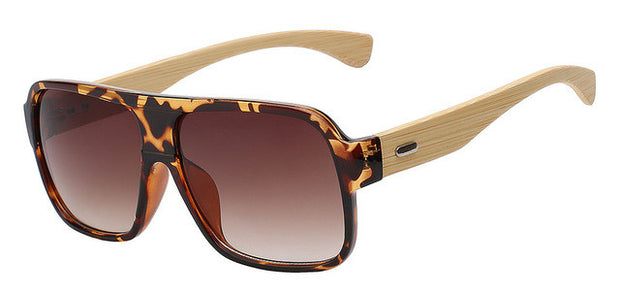 Bamboo Framed Square Aviator/Pilot Sunglasses