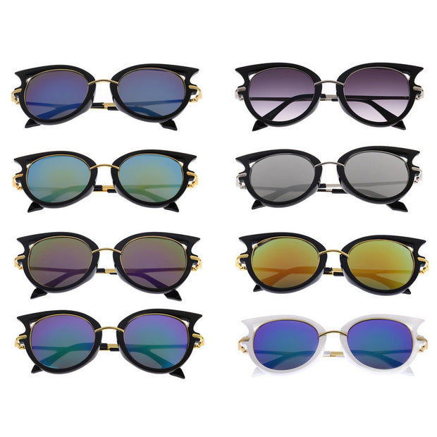 Alloy Framed Round Cat Eye Style Sunglasses with UV400 Protection