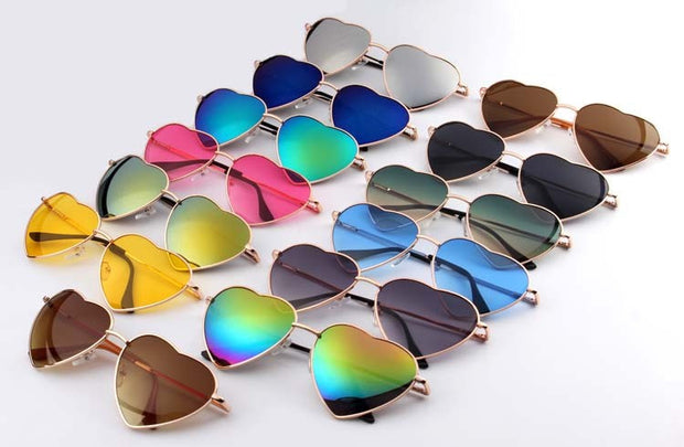 Heart-Shaped Sunglasses with Mirrored Lenses