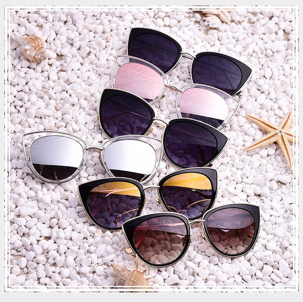 Large Metal Frame Cat Eye Sunglasses