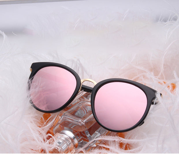 Thick Framed Round Cat Eye Mirrored Lenses Sunglasses