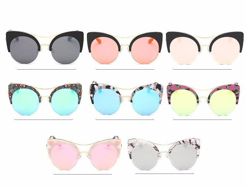 Retro Oversized Round Sunglasses with Cat Eye Accent