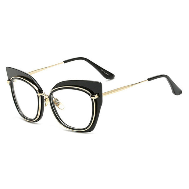 Thick Framed Cleared Lenses Cat Eye Sunglasses