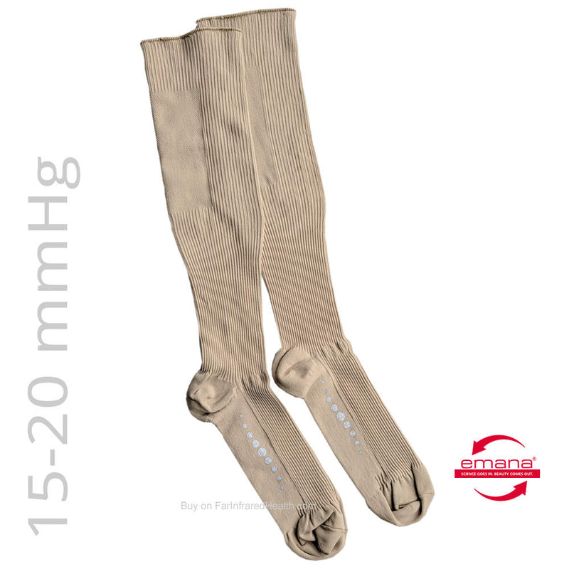NEW 15-20 mmHg Medical Compression Infrared Socks - Beige