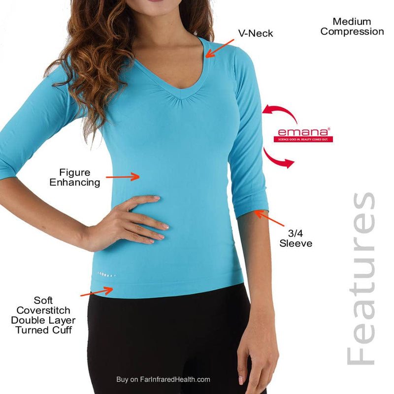 Features of the Circulation 3/4 Sleeve V-Neck Shirt by FIRMA - Fibro Friendly Shirt
