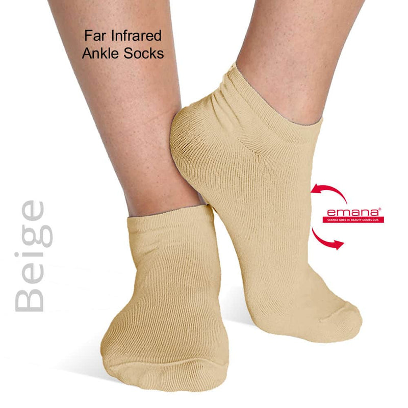 Best Sensitive Toes Socks Ankle High FIRMA Infrared Bio-Crystal Socks - Beige