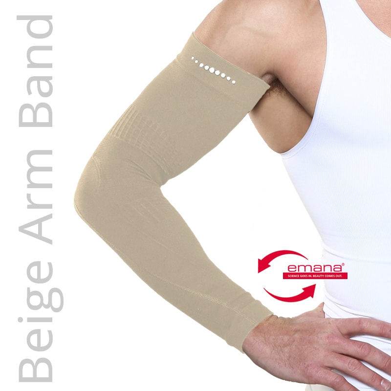 Beige Colored Fibro Friendly Far Infrared Arm Bands - Mild Compression - Promotes Circulation