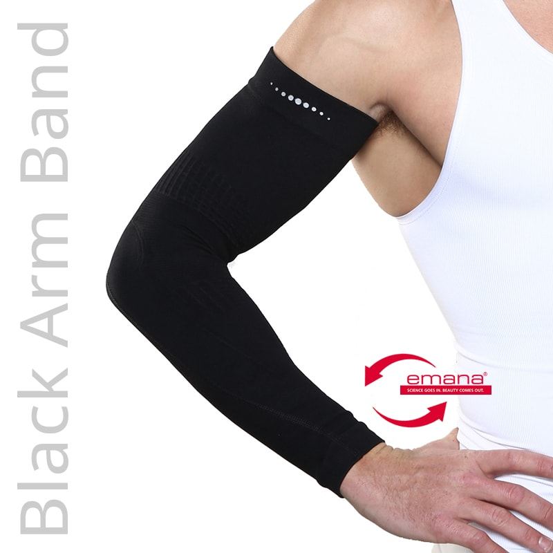 Fibro Friendly Far Infrared Black Arm Bands - Mild Compression - Promotes Circulation