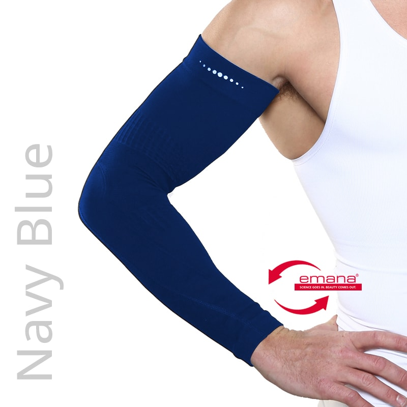 Fibro Friendly Far Infrared Arm Bands in Navy Blue - Mild Compression - Relieves muscle pain
