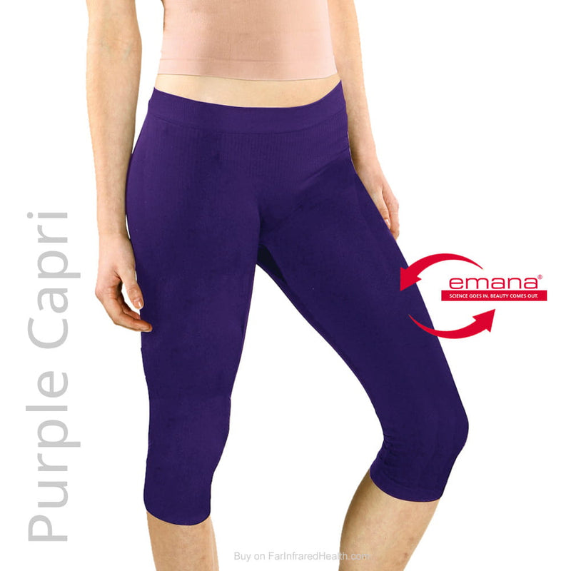 Purple Far Infrared Capri Leggings - Emana Fiber Shapewear Capris