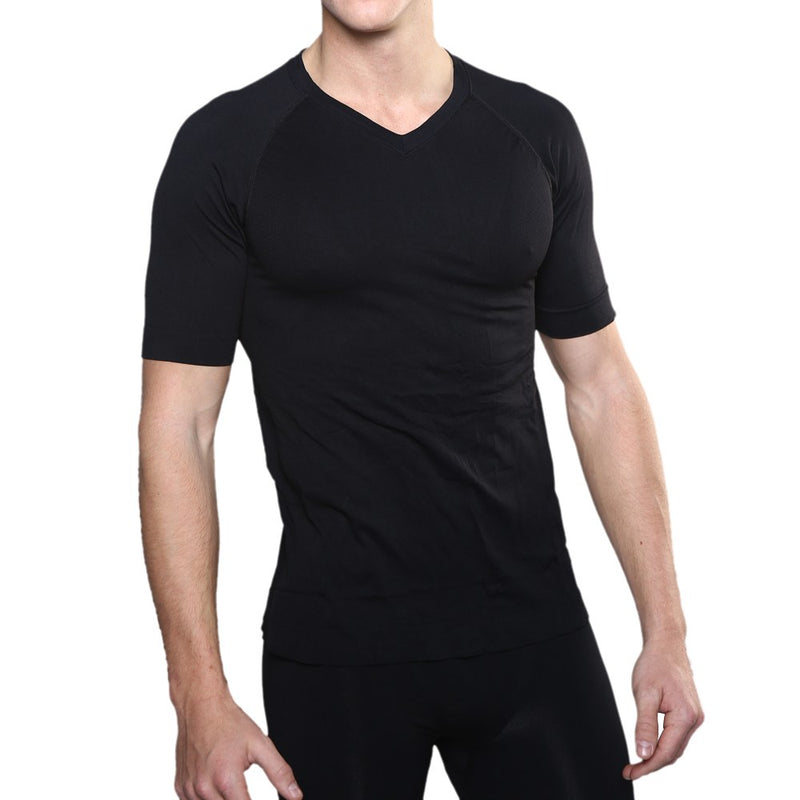 Black Circulation V-Neck T-Shirt For Men