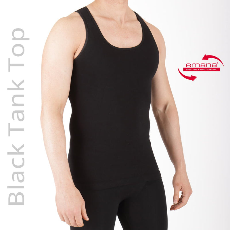Far Infrared Circulation Compression Tank For Men in Black - Made With Emana Fiber