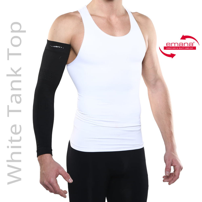 Far Infrared Compression Tank For Men - in White - Made with Emana Fiber