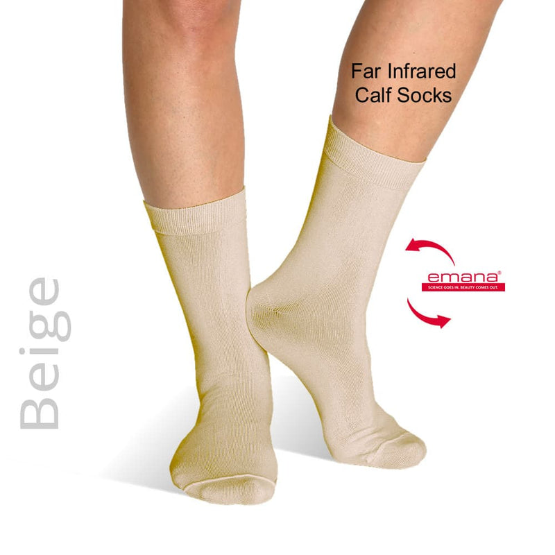 Sensitive Toe Raynaud's Socks - Far Infrared Circulation Socks Calf High - Beige