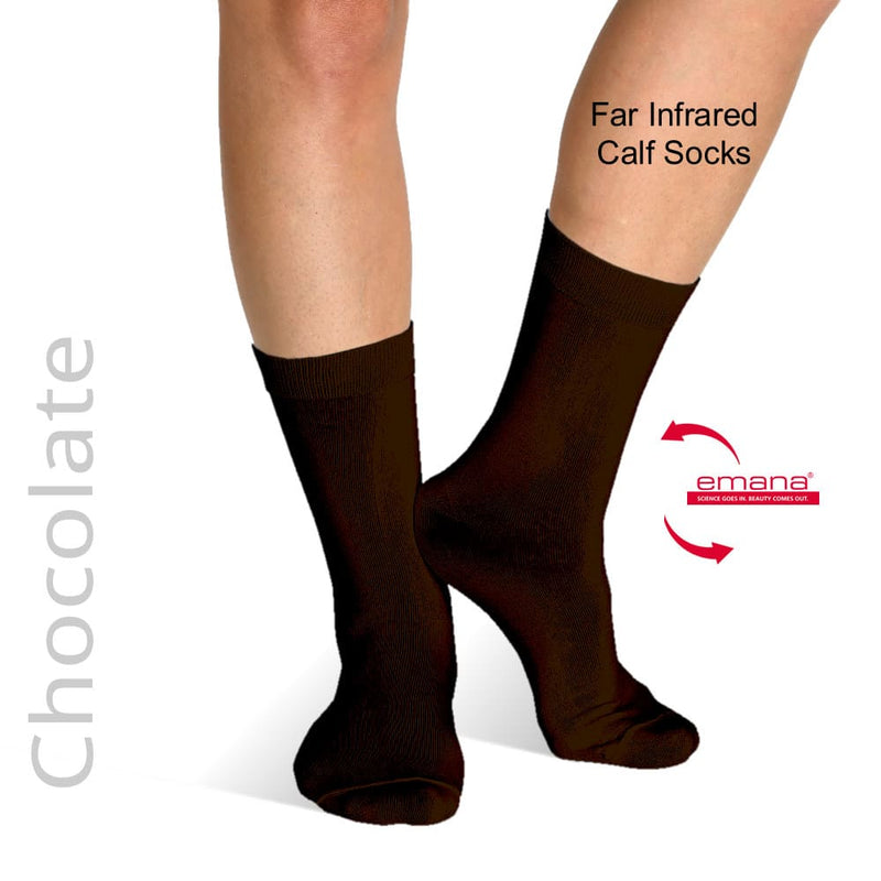 Raynaud's Socks - Far Infrared Circulation Socks Calf High - Chocolate