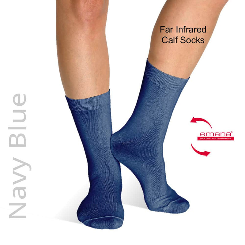 Bioceramic Emana Fiber Socks help treat Peripheral Neuropathy. Made by Firmawear - Far Infrared Circulation Socks Calf High - Navy Blue