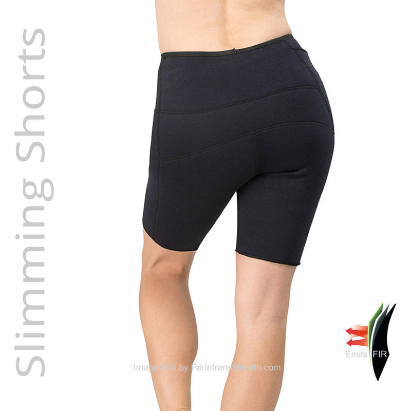 Anti Cellulite Slimming Bio-Ceramic Shorts - Black Rear Close Up