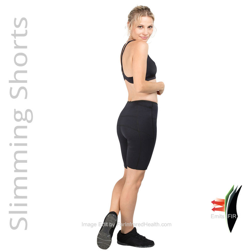 Right Side View Weight Loss Bio-Ceramic Heat Maximizing Shorts - Black