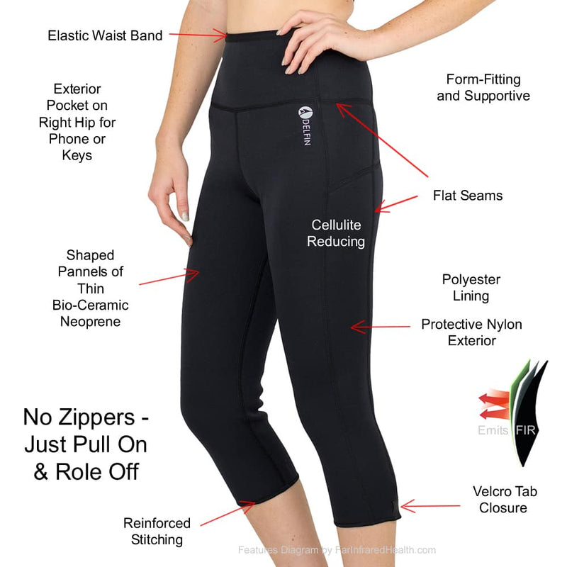 Features of the Anti Cellulite Bio-Ceramic Heat Maximizing Delfin Capris