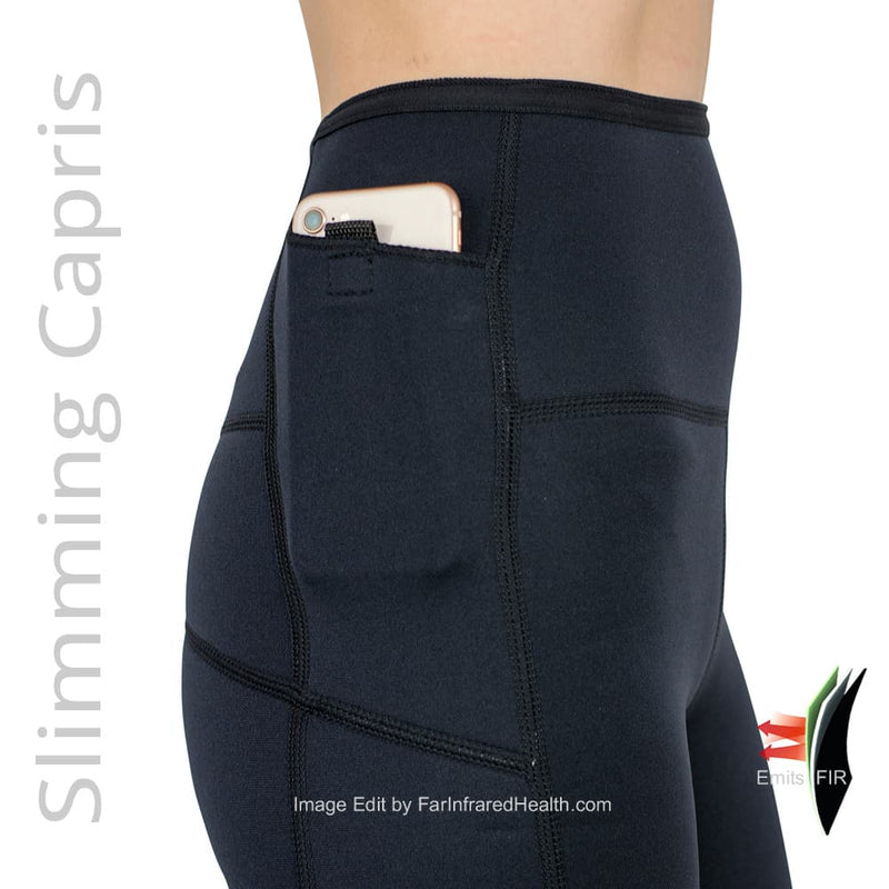 Phone Pocket  on the Weight Loss Slimming Bio-Ceramic Heat Maximizing Capris