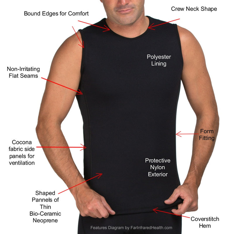 Features of the Heat Maximizing Far Infrared Neoprene Tank Top for Men