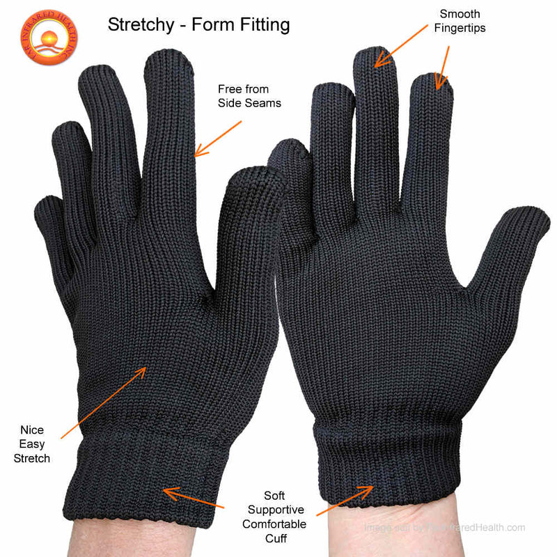 Features of the FULL FINGERTIP Stretchy Raynaud's Far Infrared Health Gloves