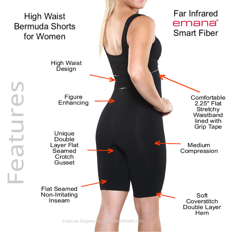 Features of the Emana Shapewear High-Waist Bermuda Shorts - Beige Front View