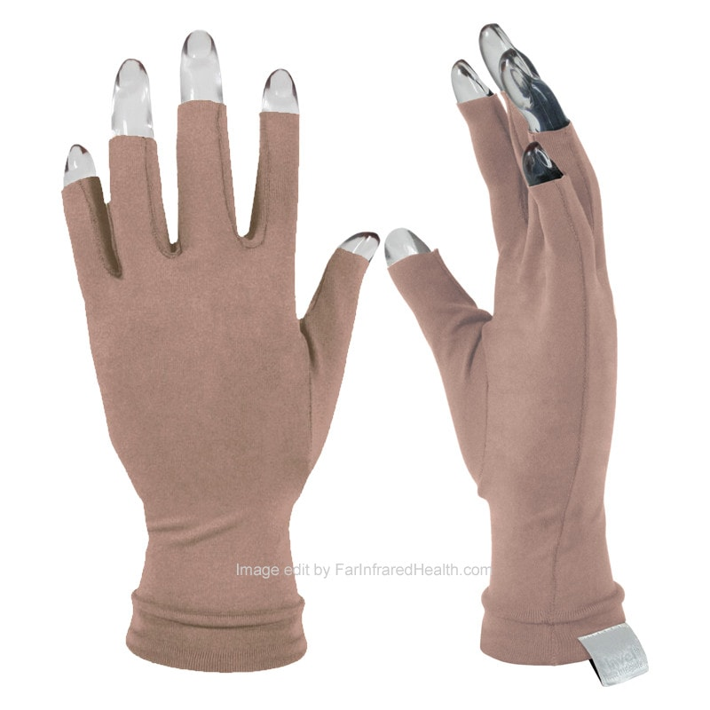 Gloves for Arthritis:  Invel Far Infrared 3/4 Finger Beige Gloves