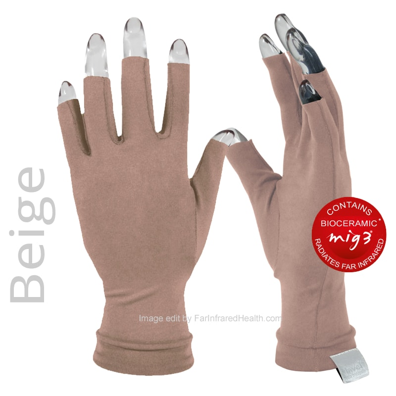 Gloves for Arthritis: Joint Pain Relieving Invel Far Infrared 3/4 Finger Gloves - Beige