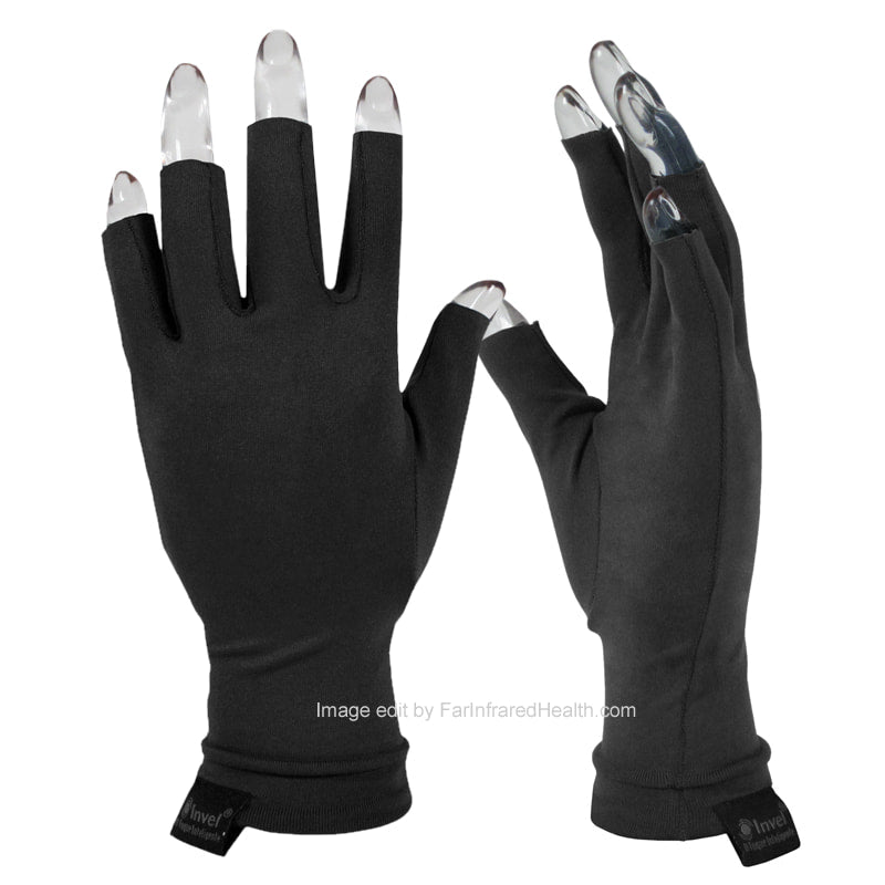 Black Arthritis Gloves - Invel Far Infrared Bioceramic 3/4 Finger Gloves