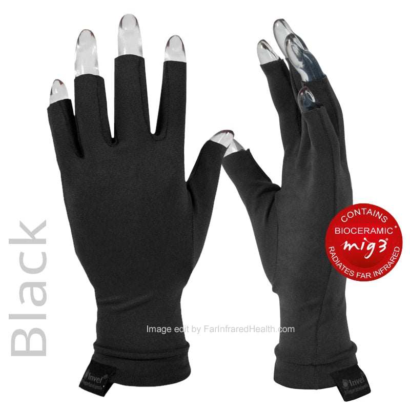 Actiive Invel Far Infrared 3/4 Finger Gloves  - Black Arthritis Gloves