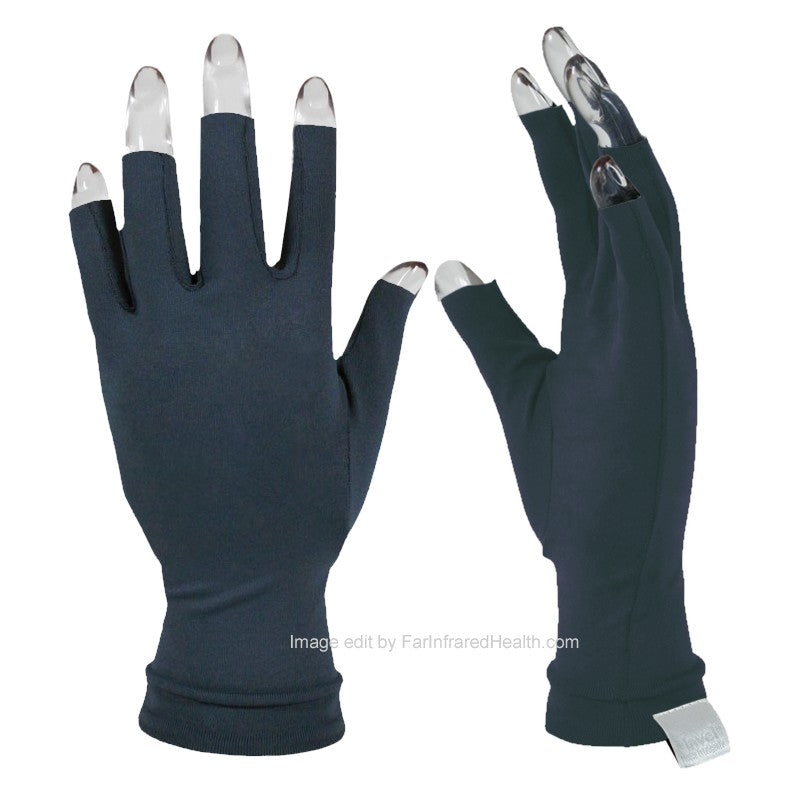 Arthritis Gloves for Pain Relief - Invel Far Infrared Bioceramic 3/4 Finger Gloves  Dark Blue