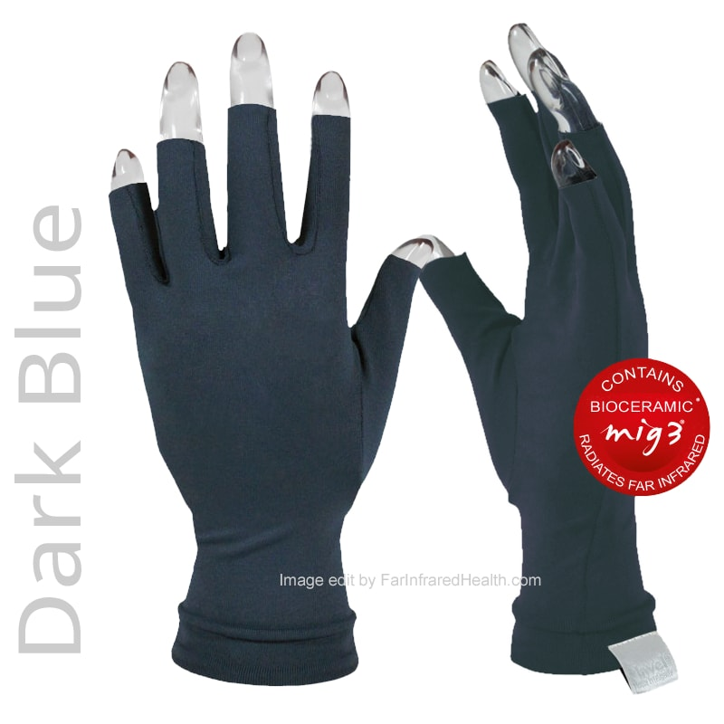 Anti Arthritis Gloves Dark Blue Actiive Invel Far Infrared 3/4 Finger Arthritis Gloves