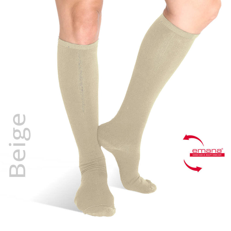 Compression Knee High Infrared Bio-Crystal Circulation Socks - Beige