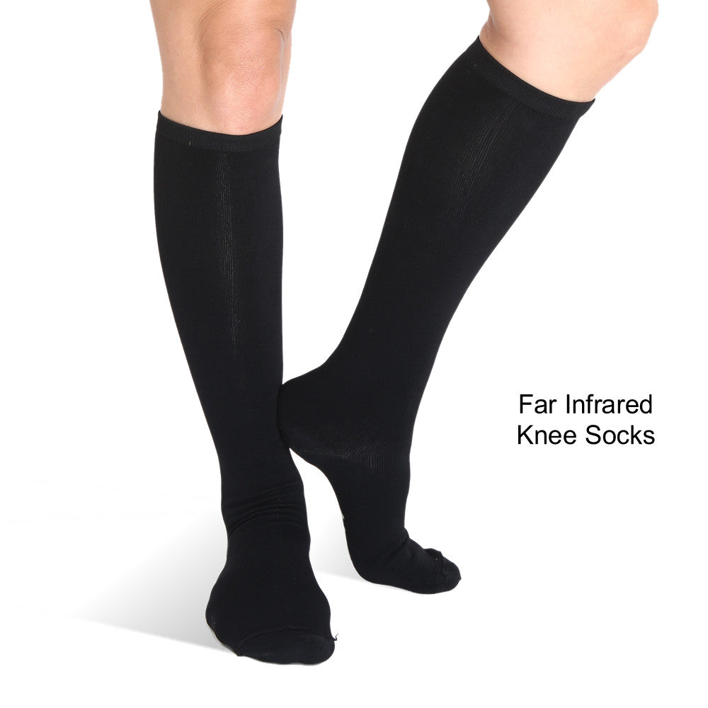 Knee High Infrared Bio-Crystal Circulation Socks - Black