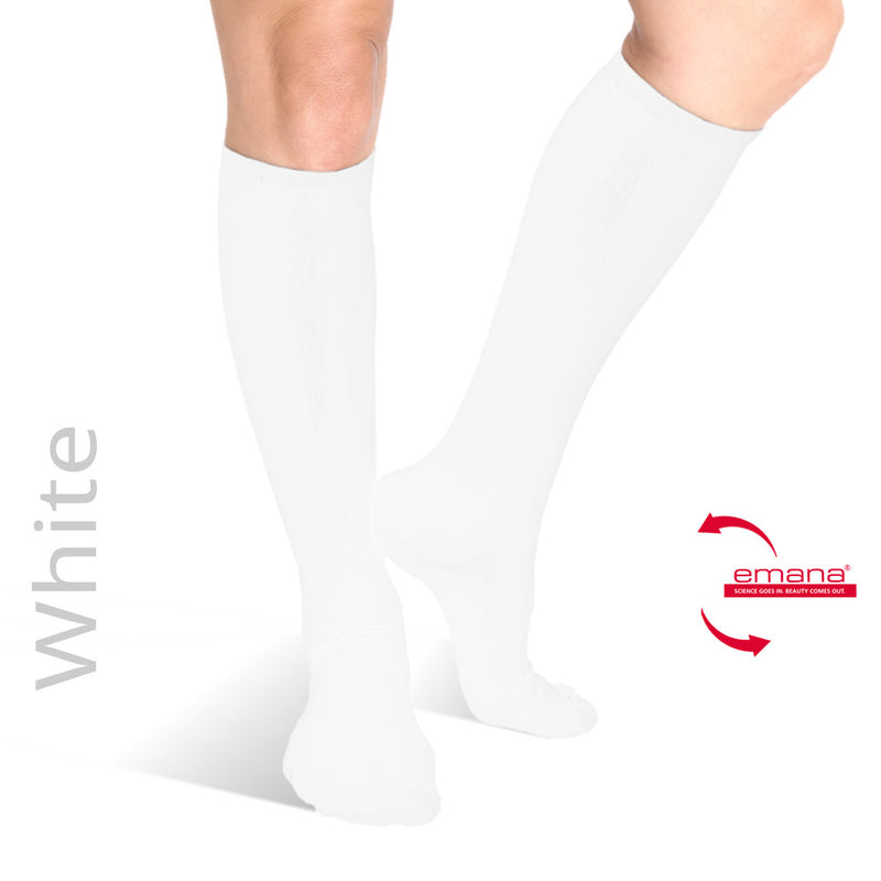 White Compression Knee High Infrared Bio-Crystal Circulation Socks - Contains Bioceramics