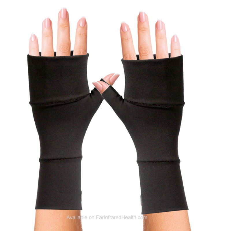 Black Best Wrist Gloves Ganglion Cyst (Bioceramic) No Finger Gloves by Invel