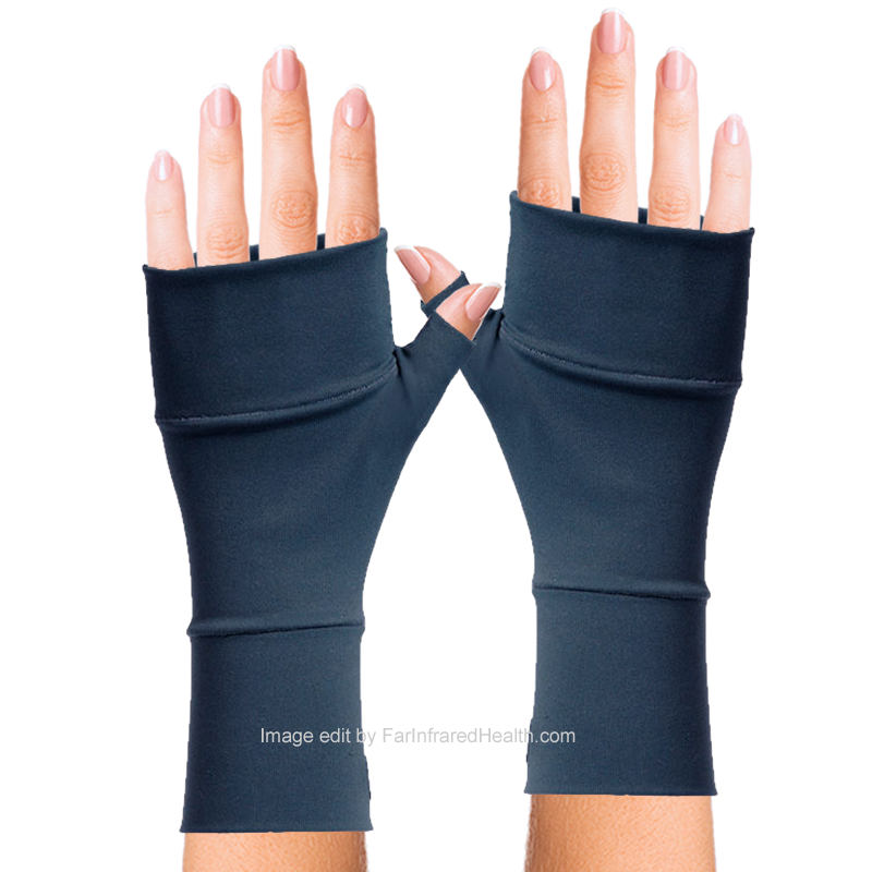 Dark Blue Wrist Gloves for Ganglion Cyst (Bioceramic) No Finger Gloves by Invel