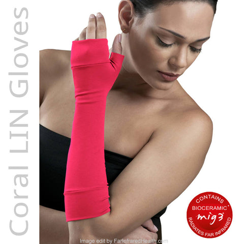 Bioceramic Gloves for treating RSI Arm Pain - Coral