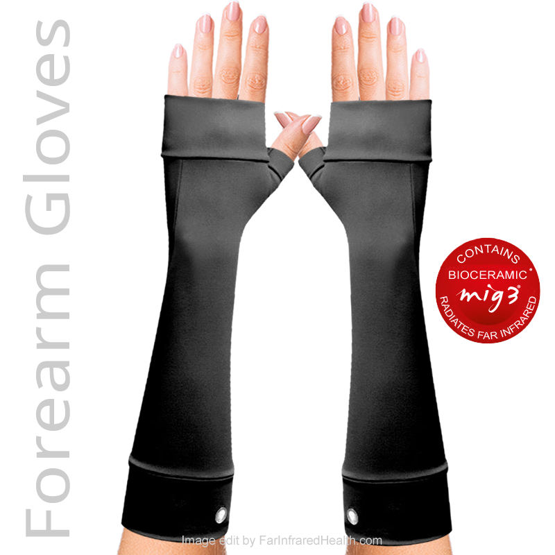 Black  Infrared Forearm Gloves by Invel - Bioceramic - Good for RSI, Stress Relieving