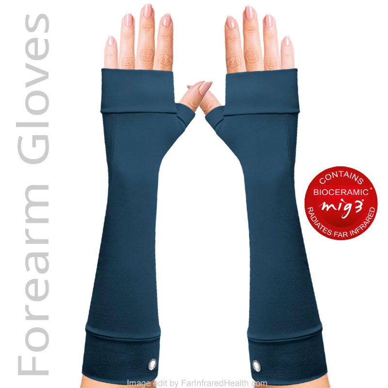 Dark Blue Fibromyalgia Gloves. No Finger Forearm Gloves. Trending 2018